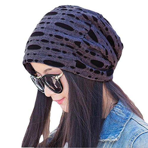 Century Star Unisex Fashion Warm Slouchy Beanie Cutout Skull Hat Broken Hole Cap DarkGrey
