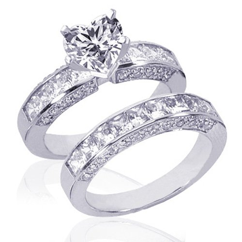 Bridal Sets 3 25 Ct Heart Shape Diamond Wedding Rings Set 14K I1