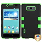 MyBat LGUS730HPCTUFFSO007NP Rubberized Rugged Hybrid TUFF Case for LG Splendor/Venice S730 - Retail Packaging - Black/Electric Green