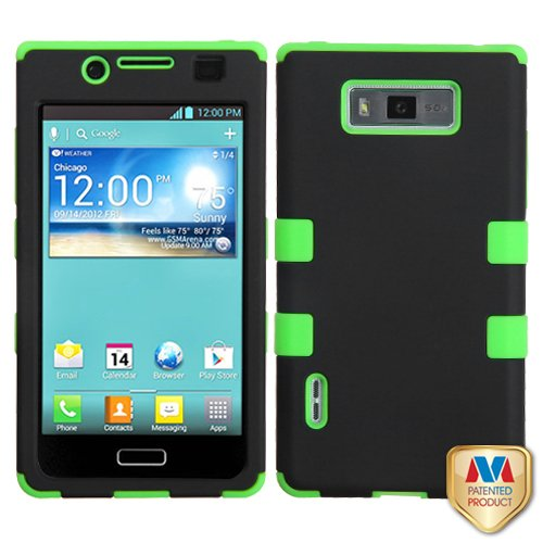Fits Lg 730 Us730 Venice, Splendor Hard Plastic Snap On Cover Rubberized Black Electric Green Tuff Hybrid Alltel, Boost Mobile, U.S. Cellular