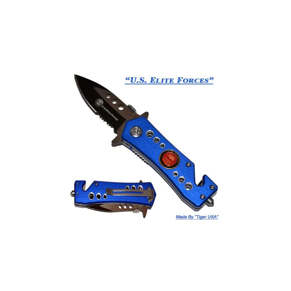 2.5 U.S. Elite Forces Spring Assisted Mini Tactical Rescue Knife   Blue