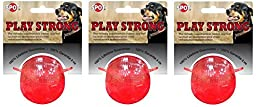 Ethical Pets Play Strong Virtually Indestructible Rubber Ball Dog Toy, 2.5-Inch (3 Pack)