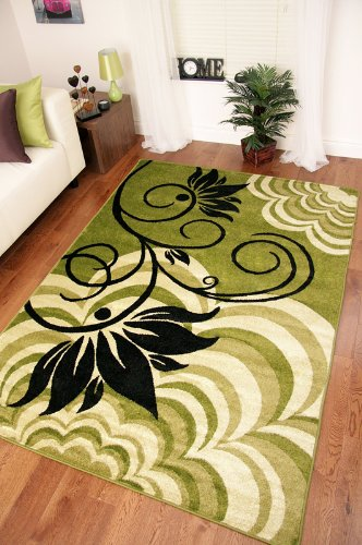 Dark and Light Green Modern Black Flower Soft Floor Rug - 9 Sizes