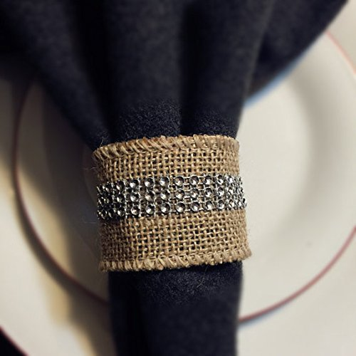 8pc Set of Burlap Napkin Ring with Bling
