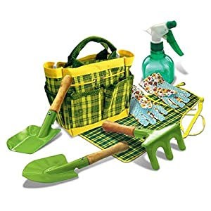 Creative Toys Green Thumb 7 piece Garden Set - incs real tools, gloves and a tote