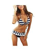 DJT Maillot de bain Femme Bikini 3 pièces push up Rayure