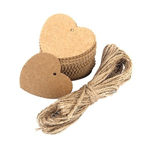 Tinksky Printable Tags Hang Tag Kraft Paper Favor Tags Heart Shaped with 10M Rope for Wedding Party Decoration - 100pcs (Brown) (Heart Baking Decorations compare prices)