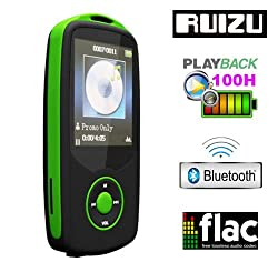 Gadget Hero's RUIZU X06 Bluetooth Ultra Portable High Res. Multimedia Player, Supports FLAC APE FLAC APE MP3 WAV WMA. Built In 4 GB. 64Gb Micro SD Card Supported. Excellent Lossless Sound Reproduction. AV Player Voice Recorder FM Player Ebook Reader Calendar Alarm Clock. Green