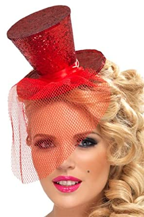 Fever Mini Top Hat Glitter Costume, Red, One Size