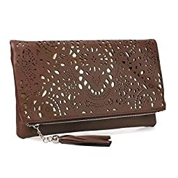 BMC Womens Chocolate Brown Perforated Cut Out Pattern Gold Accent Background Foldover Pouch Fashion Clutch Handbag