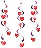 Creative Converting 5 Count Dizzy Danglers Hanging Party Decoration, Hearts