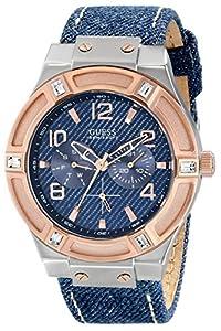 Guess U0040G6 - Orologio da polso, pelle, colore: blu