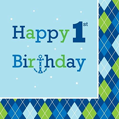 Creative Converting Ocean Preppy Boy Happy 1St Birthday Luncheon Napkins, 16-Count