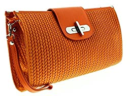HS1156 AR CORA Orange Leather Clutch/Shoulder Bag