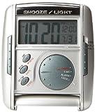Seiko Travel Alarm Get Up and Glow Clock Silver-Tone Metallic Case