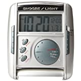 Seiko Travel Alarm Get Up and Glow Clock Silver-Tone Metallic Case ~ Seiko