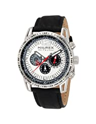 Haurex Italy Men's Talento Dual Time Silver Dial Black Leather Sport Watch