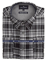 Blue Harbour Brushed Pure Cotton Herringbone Checked Shirt