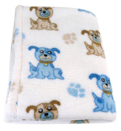 Stephan Baby Super Soft Flannel-Soft Fleece Crib Blanket, Blue Dog - 1