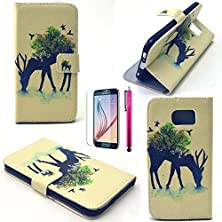 buy S6 Case, Jcmax Cute Animal Series Super Slim & Shock Resistant Pu Leather Burse Case Flip Magnetic Flap With Stand Function For Samsung Galaxy S6- Milu Deer