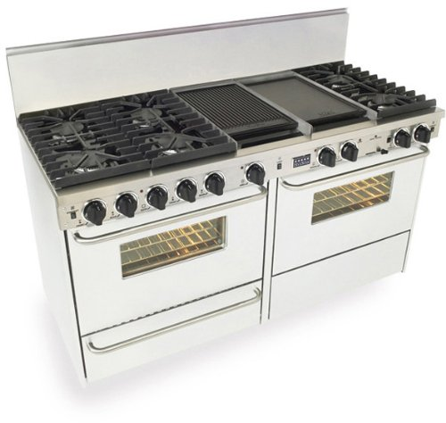 """60"""" Pro-Style Dual-Fuel Lp Gas Range W/6 Sealed Ultra High-Low Burners Two 3.69 Cu.Ft. Convection Oven Self-Clean And 2 Double Sided Griddle/Grill"""