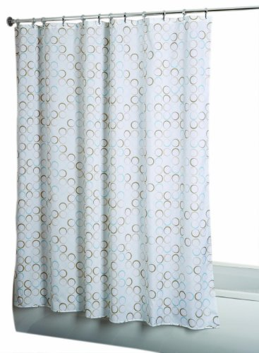 Croydex AF583339YW Teal Rings Shower Curtain, White/Teal