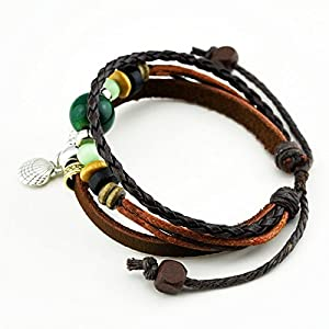 November's Chopin Charm Art Metal Shell Pendant Multistrand Leather Adjustable Wrap Bracelet