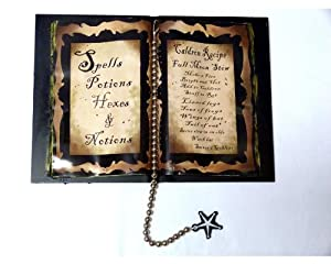 Halloween Home Decor - Olde Salem Spell Book - Spells, Potions, Hexes and Notions - Caldron Recipe - Full Moon Stew - Serves 6 Goblins - New