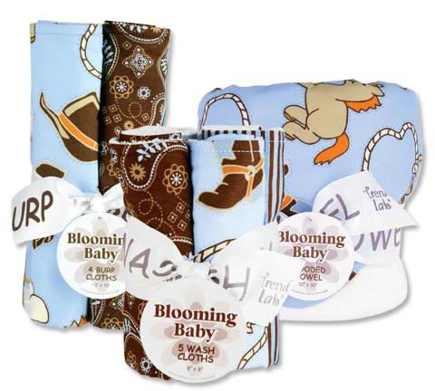 Cowboy Baby 3Pc Bouquet Set - Hooded Towel, 5 Pc Wash Cloths, 4Pc Burp Cloths front-210134