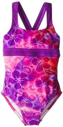 Speedo Big Girls'  Jungle Rhythm X-Back Empire One-Piece Swimsuit, Pink, 16