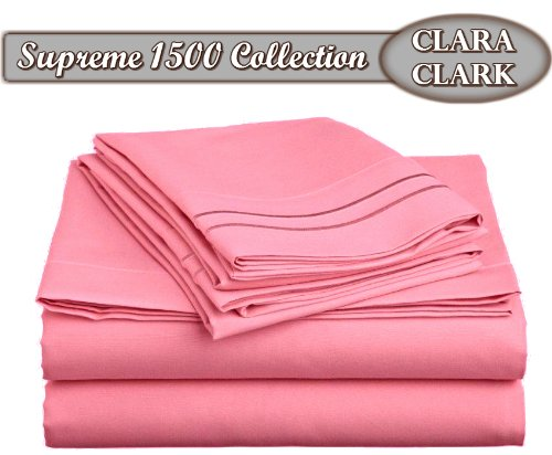 Clara Clark ® Supreme 1500 Collection 4Pc Bed Sheet Set - Queen Size, Strawberry Pink