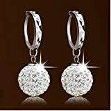 Vintage Swarovski 18K White Gold Filled Crystal Rhinestone Hoop Earrings Womens by Preciastore