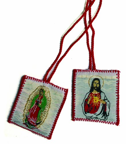Scapular - Embroidered Cloth - Our Lady Of Guadalupe - Sacred Heart Of Jesus - Red