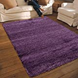 NEW THICK MODERN SHAGGY APOLLO RUG PLUM