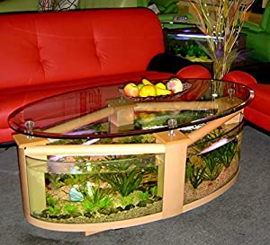 Oval coffee table aquarium with filter pump light heater completely fish ready - Fish tank coffee table amazon ...