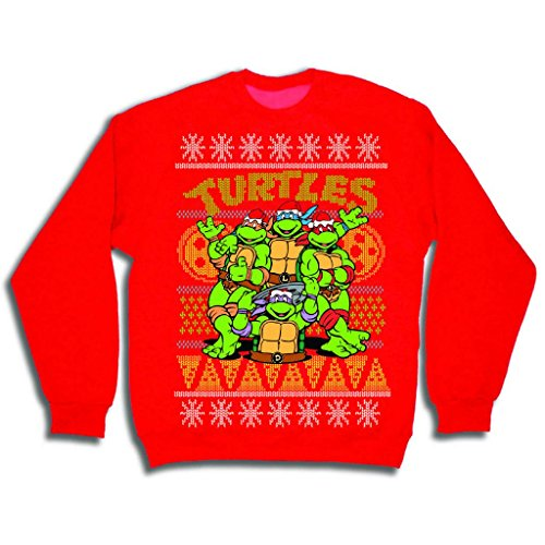 Teenage Mutant Ninja Turtles Men's TMNT Group and Pizza Ugly Christmas Sweater, Red, Large (Ninja Neck Sweater compare prices)