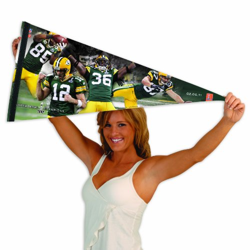 NFL Green Bay Packers Super Bowl Champs Player Premium Quality Pennant 17-by-40 inch