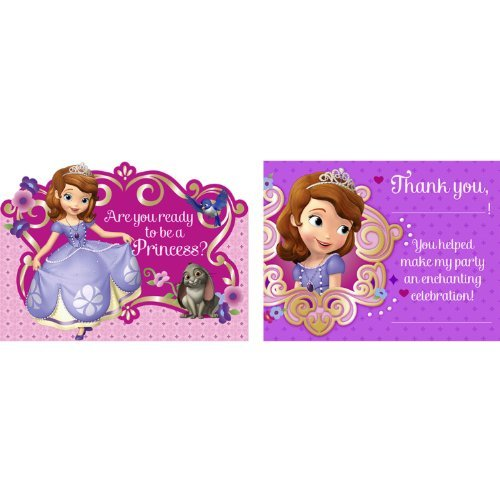 Sofia the First Invitation and Thank You Note Set for 8 Guests - 1