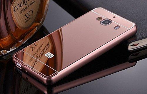 Xiaomi Redmi 2/ 2S/ Prime Case, JMV Luxury Metal Bumper Rose Gold Acrylic Mirror Back Cover Case For Xiaomi Redmi 2/ 2S/ Prime - (Rose Gold Mirror)