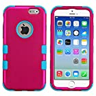 myLife Neon Blue and Pink {Bright Two-toned 3 Piece Slim Design} Neo Hybrid Armor Case for the NEW iPhone 6 (6G) 6th Generation Phone by Apple, 4.7 Screen Version (Two External Snap On Hard Protector Plates + Full Body Internal Soft Silicone Bumper Gel Protection)