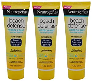 Neutrogena Beach Defense SPF 70 ~ 1oz, 29ml Travel Size (3 Pack)
