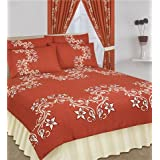 King Duvet Cover With Valance Sheet and 2 Pillowcases Terracotaby Matching Bedroom Sets