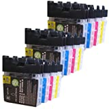 12 CiberDirect High Capacity Compatible Ink Cartridges for use with Brother DCP-195C Printers.