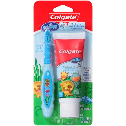 Colgate My First Toothbrush and Toothpaste Starter Kit - Blue, Ages 0-2 - 1