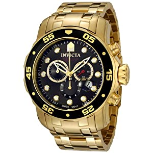 Invicta Men's 0072 Pro Diver Collection Chronograph 18k Gold-Plated Watch
