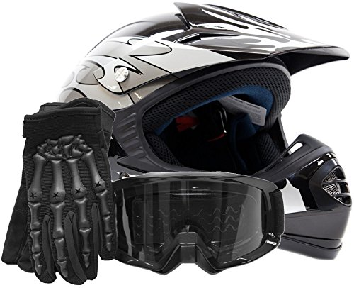 Youth Offroad Gear Combo Helmet Gloves Goggles DOT Motocross ATV Dirt Bike Motorcycle Silver Black - XL