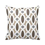 Modern Oval Links Pattern in Tan and Grey Throw Pillow Case Personalized 18x18 Inch Square Cotton Throw Pillow Case Decor Cushion Covers