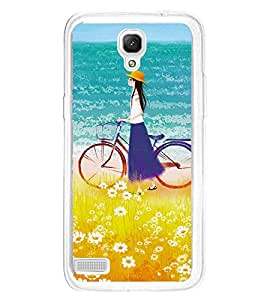 Girl on beach with Cycle 2D Hard Polycarbonate Designer Back Case Cover for Xiaomi Redmi Note :: Xiaomi Redmi Note 4G