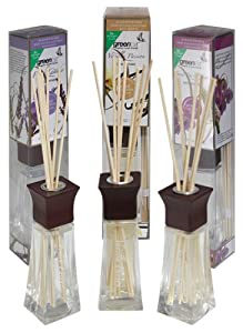Greenair All Natural Reed Diffuser Set of 3, Sweet Pea & Ginger, Mandarin Leaf, and French Lavender, 2.2-Ounce Containers