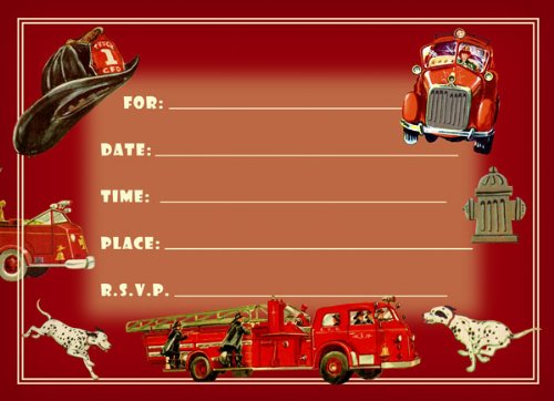Dolce Mia Firefighter Birthday Party Invitations
